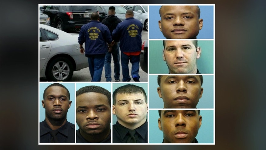 All seven indicted officers were taken into custody at the Baltimore Police Internal Affairs section on Wednesday.