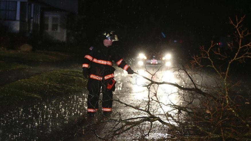 A firefighter removes fallen tree branches from the road in Ottawa, Ill., on Tuesday, Feb. 28, 2017. Tornadoes touched down in the upper Midwest and northern Arkansas on Tuesday, in a spring-like storm system. (Nuccio DiNuzzo/Chicago Tribune via AP)