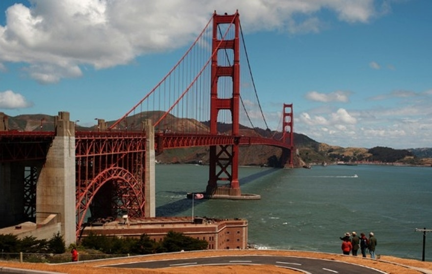 May 25, 2012: Visitors walk on walking path and bicycle trail near the Golden Gate Bridge in San Francisco, California.