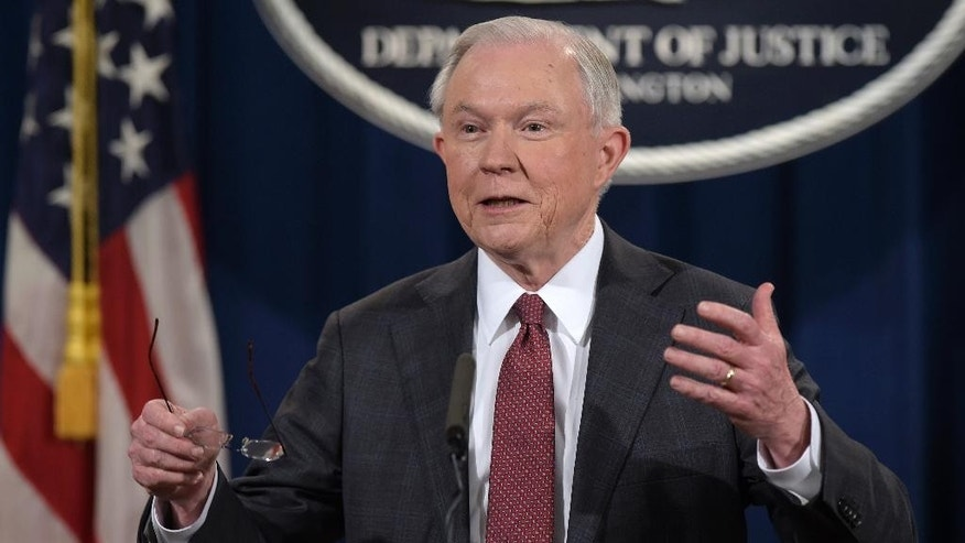 FILE - In this March 2, 2017 file photo, Attorney General Jeff Sessions speaks during a news conference at the Justice Department in Washington. Some Democrats worry the appointment of a Sessions subordinate to oversee any federal investigation into Russian interference in the 2016 presidential election won't be a clean enough break from the embattled attorney general. Rod Rosenstein, who faces his confirmation hearing next week for the role of deputy attorney general, was appointed top federal prosecutor in Maryland by President George W. Bush and remained in the political post for the entire Obama administration. (AP Photo/Brian Witte, File)    (AP Photo/Susan Walsh, File)
