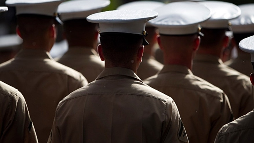 US Marines line up in formation