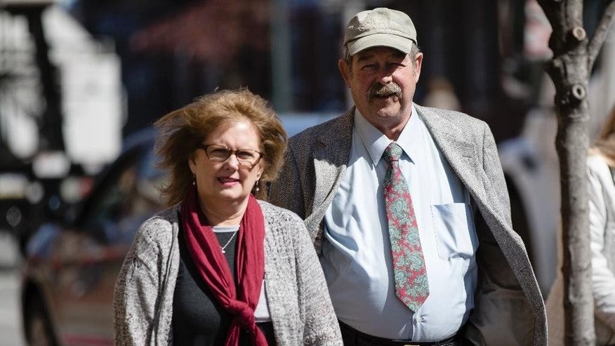 Michael and Deborah Frein, the parents of Eric Frein, walk to the Chester County Justice Center in West Chester, Pa, Thursday, March 9, 2017. Lawyers began the process of picking a jury Thursday in the capital murder trial of Eric Frein charged with killing a Pennsylvania State Police trooper and critically wounding another in a 2014 ambush at their barracks. (AP Photo/Matt Rourke)
