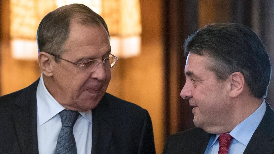 Russian Foreign Minister Sergey Lavrov, left, meets with German counterpart Sigmar Gabriel in Moscow, Russia on Thursday, March 9, 2017. (AP Photo/Pavel Golovkin)
