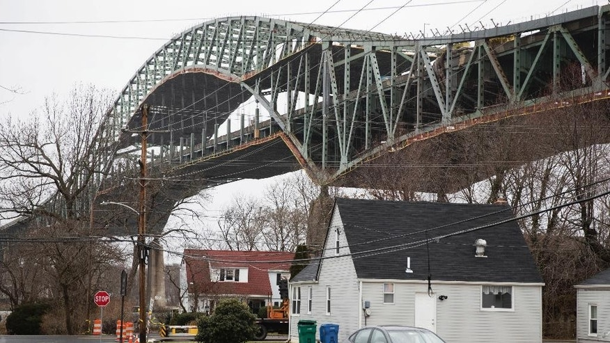 FILE - This Jan. 23, 2017 file photo shows the Delaware River Bridge in Bristol, Pa. Engineers say work to repair a major bridge that links Pennsylvania and New Jersey remains on track for it to reopen in about a month. Officials with the Pennsylvania Turnpike Commission said Friday, March 3, 2017 good weather has helped speed work on the Interstate 276 bridge over the Delaware River. (AP Photo/Matt Rourke, File)