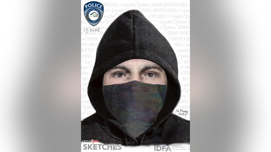 This undated sketch provided by the Kent, Wash., Police Department shows a man they and the FBI are seeking the public's help in identifying. He's a suspect in the shooting of a Sikh man in suburban Seattle, who says the man shot him in the arm and told him to go back to his country. (Kent Police Department via AP)