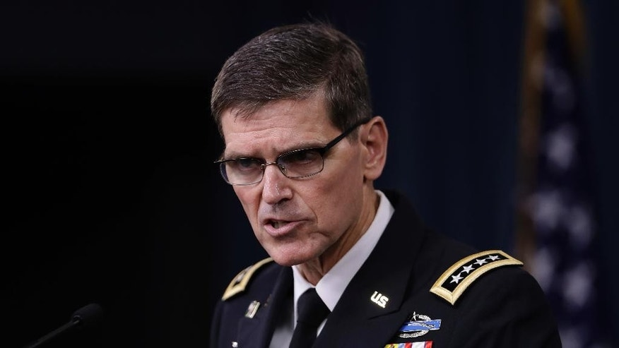 FILE - In this Aug. 30, 2016 file photo, U.S. Central Command Command Commander, U.S. Army Gen. Joseph Votel speaks to reporters at the Pentagon. Votel says he has completed an exhaustive review of the Yemen raid that killed a Navy SEAL, and he concluded there were no lapses in judgment or decision making surrounding the operation, and he sees no need for additional investigations.  (AP Photo/Manuel Balce Ceneta, File)