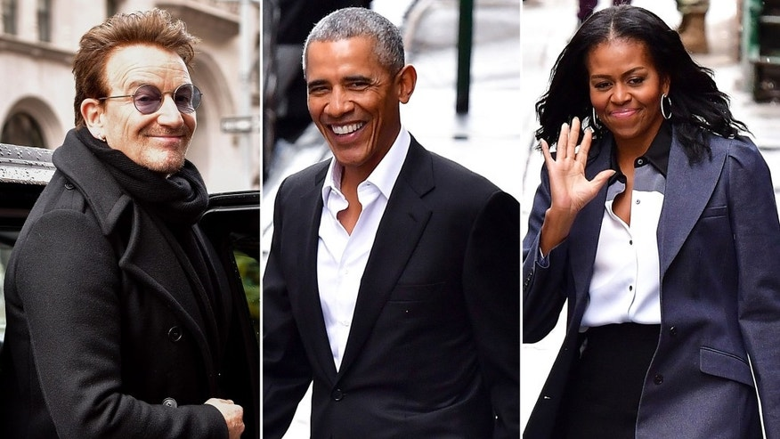 Bono, Barack Obama and Michelle Obama leave Upland.