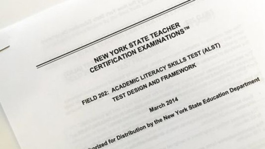 This March 8, 2017 photo shows the front page of a document explaining a certification exam known as the Academic Literacy Skills Test, designed to measure the reading and writing skills of aspiring teachers, in New York.
