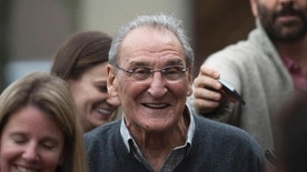 "FILE - In this Nov. 12, 2015 file photo, Vincent Asaro leaves Brooklyn federal court in New York after beating charges that he helped plan the legendary 1978 Lufthansa heist retold in the hit film ""Goodfellas."" Asaro was rearrested Wednesday, March 22, 2017, for the alleged torching of a car that cut him off in traffic. Also charged in the arson and in an unrelated bank robbery was John J. Gotti, 23, the namesake grandson of the notorious Gambino crime family boss John ""Dapper Don"" Gotti. (AP Photo/Bryan R. Smith, File)"