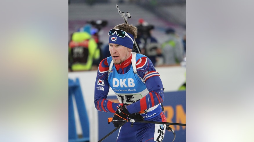 "In this Sunday, March 5, 2017 photo, Naturalized biathlete Timofei Lapshin competes during the men's 4x7.5 km relay competition for the Biathlon World Cup at the Alpensia Biathlon Centre in Pyeongchang, South Korea. Biathlete Lapshin said he's now known as ""the Russian Viktor Ahn"" after making the switch in reverse. Lapshin is a talented athlete, with a smattering of podium finishes on the World Cup circuit, but struggled to make the highly-competitive Russian team. After a super-fast naturalization process - he says the first enquiries were made only in September - he now holds a South Korean passport. (AP Photo/Lee Jin-man)"