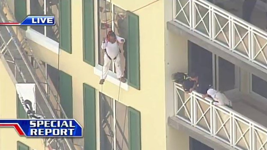 Man rescued after scaffolding collapsed at Florida hotel