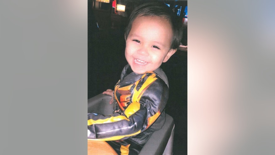 This undated photo provided by family, shows 2-year-old Carlos Cortez abducted in a stolen vehicle Thursday, March 23, 2017, in Cathedral City, Calif. Cathedral City police say two boys, 1-year-old Jayden Cortez, and Carlos, were in a Honda Accord that was stolen in Cathedral City on Thursday night. An Amber Alert has been issued for the white, four-door accord with license plate 7TJR654. (Cathedral City Police Department via AP)