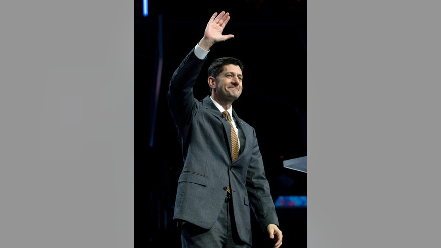 House Speaker Paul Ryan of Wis., waves to the crowd before he speaks at the 2017 American Israel Public Affairs Committee (AIPAC) Policy Conference held at the Verizon Center in Washington, Monday, March 27, 2017. (AP Photo/Jose Luis Magana)