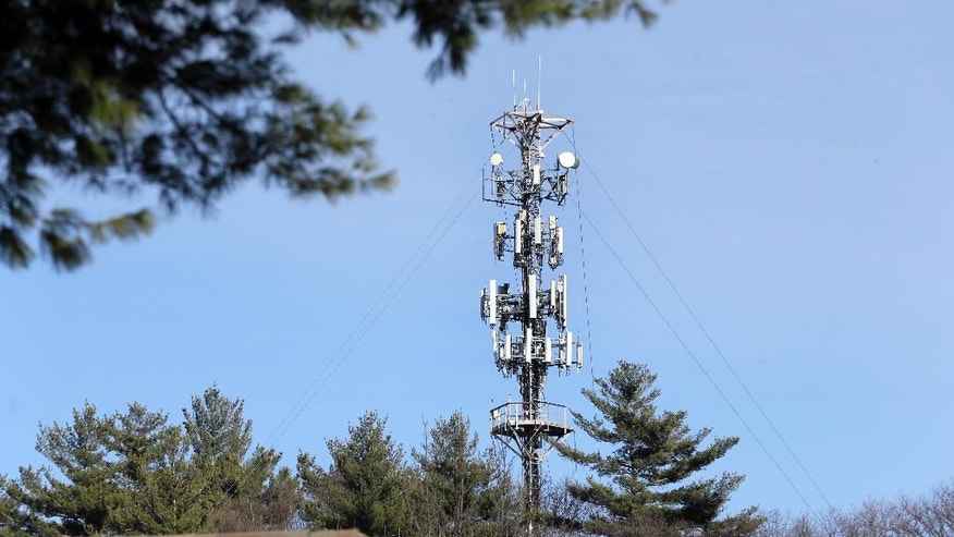In this March 13, 2017 photo, a cell tower is seen through trees in North Andover, Mass. Insurance companies are using cellphone tower data to deny claims for stolen cars, burned homes and other mishaps, despite the information coming under question at criminal trials across the country. (AP Photo/Elise Amendola)