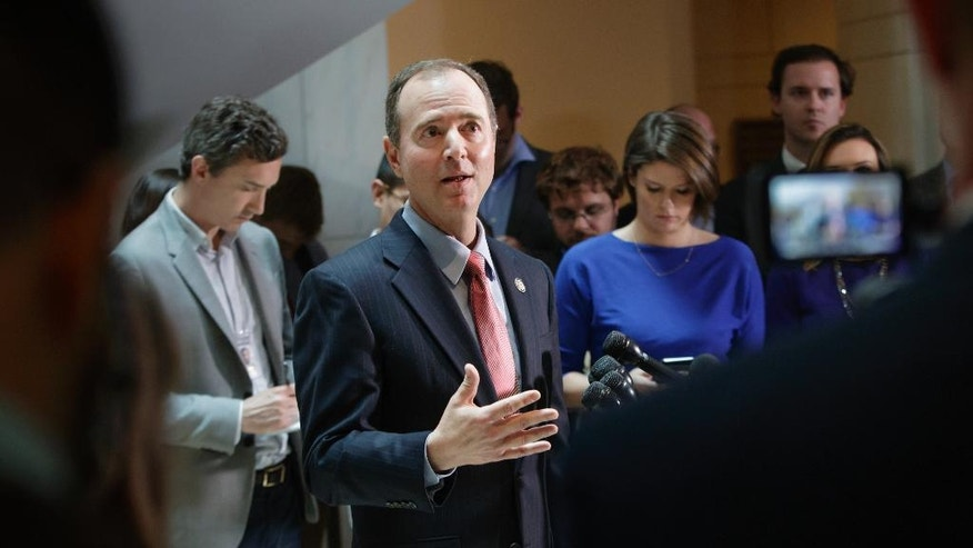 Rep. Adam Schiff, D-Calif., ranking member of the House Intelligence Committee, speaks to reporters on Capitol Hill in Washington, Thursday, March 30, 2017, about the actions of Committee Chairman Rep. Devin Nunes, R-Calif. as the panel continues to investigate Russian interference in the 2016 U.S. presidential election and the web of contacts between President Donald Trump's campaign and Russia. (AP Photo/J. Scott Applewhite)
