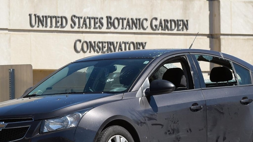 "A vehicle involved in an incident is seen at the U.S. Botanic Garden on Capitol Hill in Washington, Wednesday, March 29, 2017. A woman described as ""erratic and aggressive"" drove a vehicle into a U.S. Capitol Police cruiser near the Capitol and was taken into custody, police said.  (AP Photo/Susan Walsh)"
