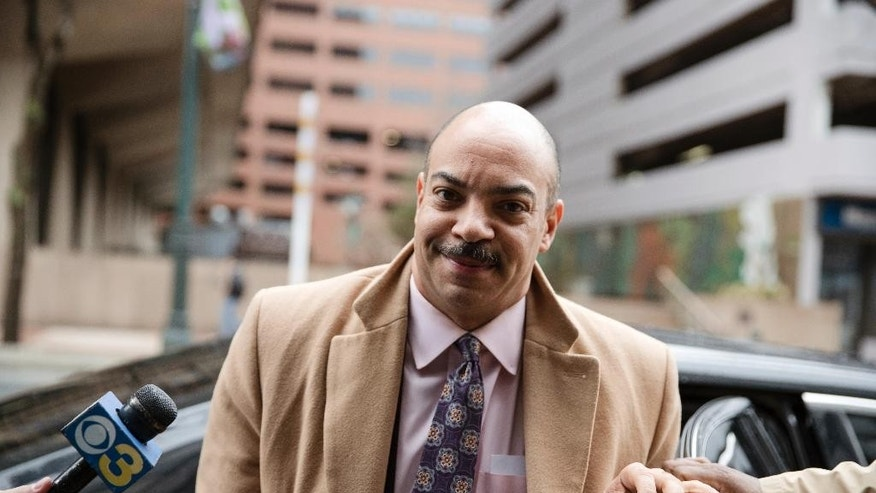 Philadelphia District Attorney Seth Williams arrives for a preliminary hearing in his bribery and extortion case at the federal courthouse, in Philadelphia, Tuesday, March 28, 2017. (AP Photo/Matt Rourke)