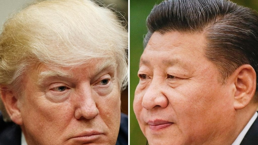 "FILE - This combination of file photos shows U.S. President Donald Trump on March 28, 2017, in Washington, left, and Chinese President Xi Jinping on Feb. 22, 2017, in Beijing. Trump is suggesting ahead of his two-day meeting starting Thursday, April 6, 2017 with Xi that with or without Beijing's help, he can ""totally"" handle North Korea, but his solution would have to be pretty clever. (AP Photo/Files)"