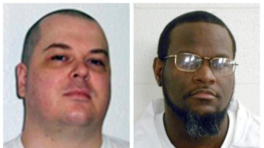 FILE - This combination of undated file photos provided by the Arkansas Department of Correction shows death-row inmates Jason F. McGehee, left, and Kenneth Williams. Both men are scheduled for execution on April 27, 2017. (Arkansas Department of Correction via AP)