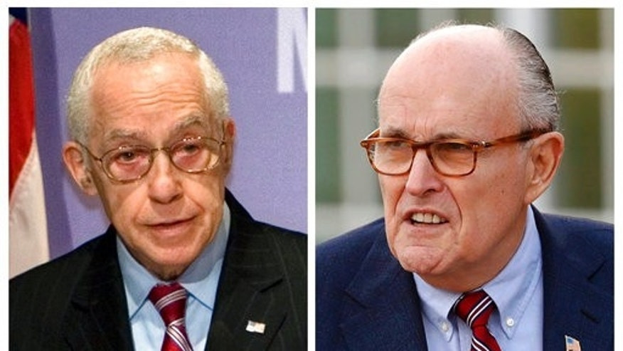 Ex-U.S. Attorney General Michael Mukasey, left, and former New York City Mayor Rudy Giuliani.