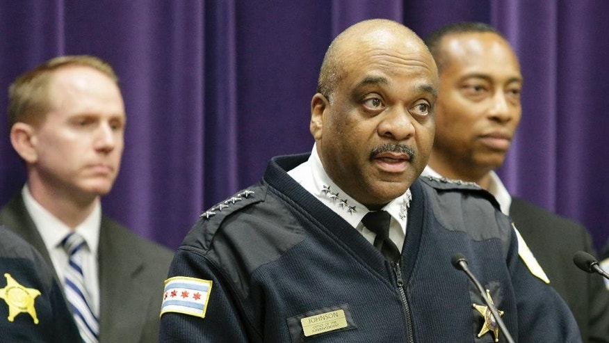 Chicago Police Department Superintendent Eddie Johnson speaks during a news conference Wednesday, April 5, 2017, in Chicago. Police announced that Maurice Harris has been charged with four counts of first-degree murder in the fatal shootings of four men at or near a Chicago restaurant, on March 30, 2017. Harris who is charged in the likely gang-related killings of the four men on Chicago's South Side had lost his father in another shooting a day earlier in the same neighborhood. (AP Photo/Teresa Crawford)