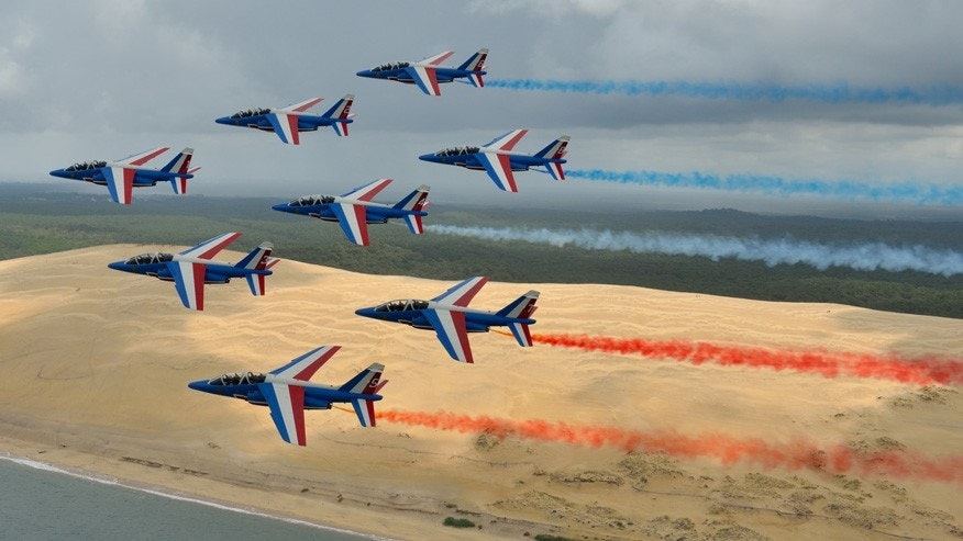 The Patrouille de France flight acrobatics team are performing in the United States as part of their first tour of America in more than 30 years, to celebrate the centennial of the U.S.'s entry into the war.
