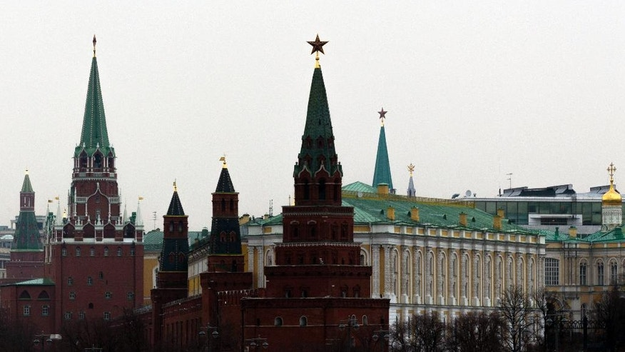 The Kremlin Palace and Towers are seen in Moscow, Russia, Friday, April 7, 2017. The Russian military says it will help Syria beef up its air defenses after the U.S. strike on a Syrian air base. (AP Photo/Ivan Sekretarev)
