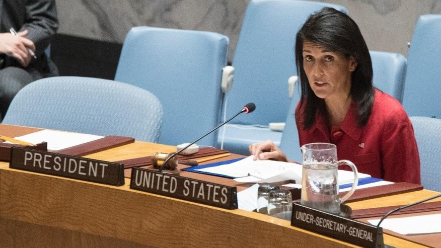 United States' Ambassador United Nations and current Security Council President Nikki Haley speaks during a Security Council meeting on the situation in Syria, Friday, April 7, 2017 at United Nations headquarters. (AP Photo/Mary Altaffer)