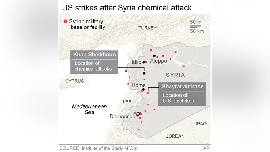 Graphic locates the site of recent Syria chemical attack, the U.S. airstrike in response and other Syrian military bases and facilities across the country; 2c x 3 1/4 inches; 96.3 mm x 82 mm;
