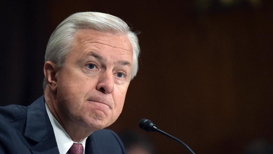 "FILE - In this Tuesday, Sept. 20, 2016, file photo, Wells Fargo CEO John Stumpf testifies on Capitol Hill in Washington, before the Senate Banking Committee. In the results of an investigation released Monday, April 10, 2017, Wells Fargo's board of directors has blamed the bank's most senior management for creating an ""aggressive sales culture"" at Wells that eventually led to the bank's scandal over millions of unauthorized accounts. The results of the investigation, conducted by the law firm Shearman & Sterling, also called for millions of dollars in compensation to be clawed back from former CEO Stumpf and community bank executive Carrie Tolstedt. (AP Photo/Susan Walsh, File)"