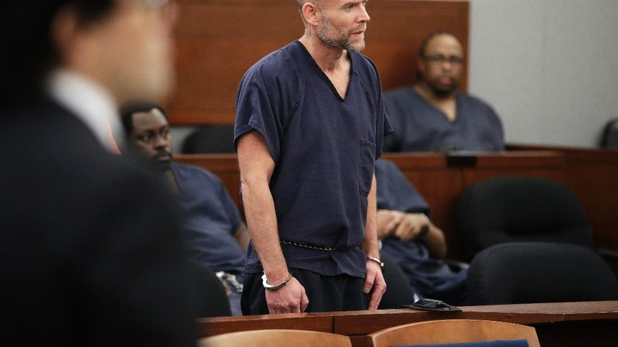Nicolai Howard Mork appears in court Tuesday, April 11, 2017, in Las Vegas. Mork plead not guilty Tuesday to terrorism and possession of weapons of mass destruction, explosives and firearms charges following his indictment last week in Nevada state court. (AP Photo/John Locher)