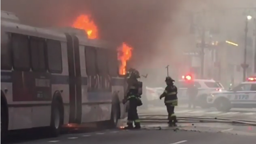NYC bus catches fire in Midtown during morning rush hour