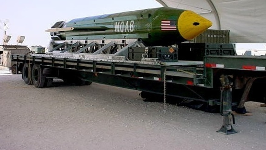 This undated photo provided by Eglin Air Force Base shows a GBU-43B, or massive ordnance air blast weapon, the U.S. military's largest non-nuclear bomb, which contains 11 tons of explosives. The Pentagon said U.S. forces in Afghanistan dropped a GBU-43B on an Islamic State target in Afghanistan on Thursday, April 13, 2017, in what a Pentagon spokesman said was the first-ever combat use of the bomb. (Eglin Air Force Base via AP)