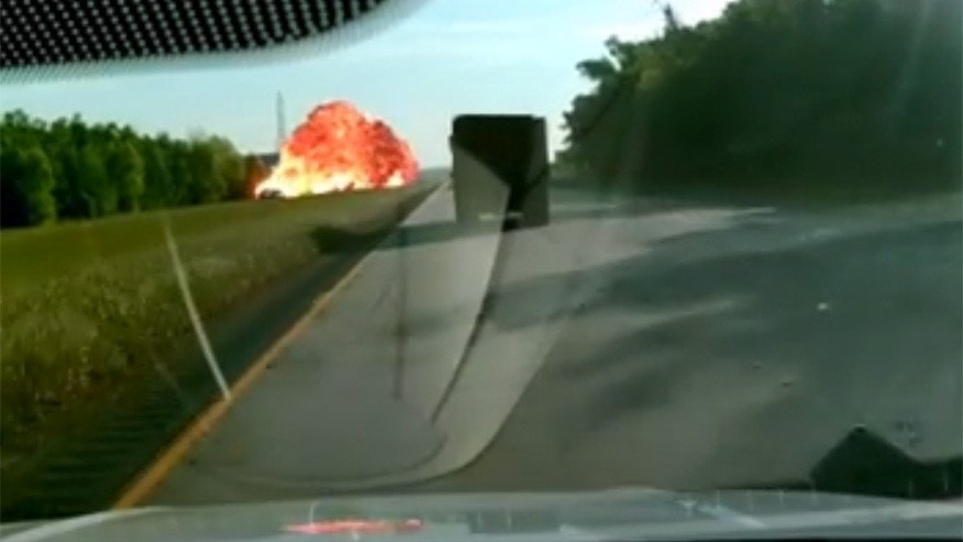 Screengrab of a dashcam video showing an intense crash and explosion in Louisiana.