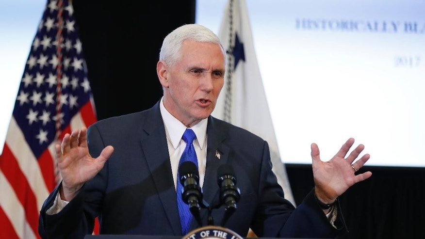 "FILE - In this Feb. 27, 2017 file photo, Vice President Mike Pence speaks in the Eisenhower Executive Office Building on the White House complex in Washington. President Donald Trump has labeled North Korea a ""problem"" country that will be dealt with through a broad, and vague, set of options. It may be up to his vice president, Mike Pence, to fill in the details when he arrives in Asia this weekend.  (AP Photo/Manuel Balce Ceneta, File)"