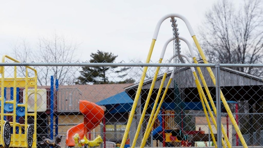 In this photo taken Jan. 26, 2016, the empty playground at Trinity Lutheran Church in Columbia, Mo. Justice Neil Gorsuch's first week hearing Supreme Court arguments features a case that's giving school choice advocates hope for an easier use of public money for private, religious schools in dozens of states. The long-delayed argument Wednesday, April 19, 2017, deals with whether Missouri should pay for a soft surface at the church playground. (Annaliese Nurnberg/Missourian via AP)