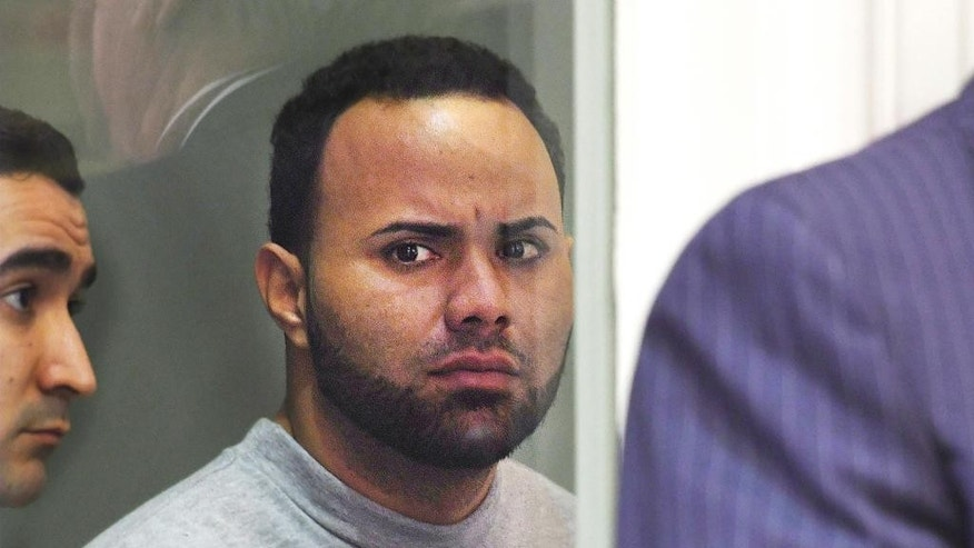 Angelo Colon-Ortiz is arraigned in connection to the death of Vanessa Marcotte, Tuesday, April 18, 2017, in Leominster District Court. in Leominster, Mass. Colon-Ortiz was charged with assault and attempted rape, and prosecutors said they sought the high bail because they expect to charge him with murder in the Aug. 7 slaying of 27-year-old New York City resident Vanessa Marcotte.   (Christine Peterson/Worcester Telegram & Gazette via AP, Pool)