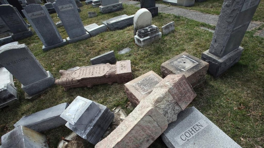 FILE - In this Monday, Feb. 27, 2017 file photo,toppled and damaged headstones rest on the ground at Mount Carmel Cemetery in Philadelphia. The Anti-Defamation League found an increase in cases of anti-Semitic intimidation and vandalism in 2016, evidence that anti-Jewish bias intensified during the election. (AP Photo/Jacqueline Larma)