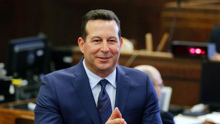 FILE - In this March 1, 2017, file photo, lead defense attorney Jose Baez delivers his opening statement to the jury on the first day of former New England Patriots tight end Aaron Hernandez's double-murder trial at Suffolk Superior Court in Boston. Baez won an acquittal for Hernandez, and for Casey Anthony in 2011 in the death of her toddler. (AP Photo/Stephan Savoia, Pool, File)