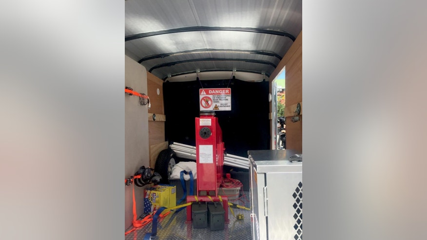 This photo shows the test-fire area of a U.S. Bureau of Alcohol, Tobacco, Firearms and Explosives mobile ballistics trailer on Tuesday, May 2, 2017, in Baltimore. The area enables detectives to test weapons at the scene of a crime, rather than sending them to a laboratory and waiting days for results. The first stop for the National Integrated Ballistics Information Network is Baltimore, where the homicide rate so far this year is the second-highest the city has ever recorded. (AP Photo/Juliet Linderman)