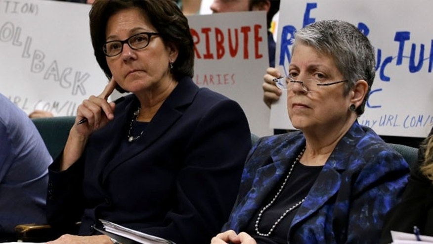 May 2: Monica Lozano, left, chair of the University of California Board of Regents, and UC President Janet Napolitano, sit in the audience before appearing before the Joint Legislative Audit Committee