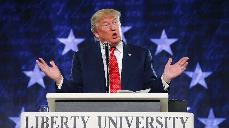 FILE - In this Jan. 18, 2016 file photo, Donald Trump gestures during a speech at Liberty University in Lynchburg, Va. President Donald Trump on Thursday, May 4, 2017, signed a new executive order aimed at weakening the enforcement of a law that bars churches and tax-exempt groups from endorsing political candidates. A look at the law in question, known as the Johnson Amendment.  (AP Photo/Steve Helber, File)