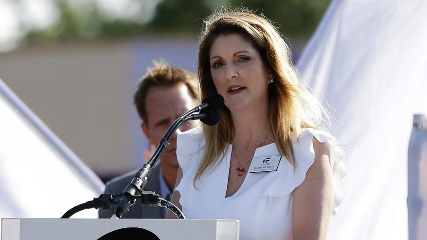 Pulse nightclub owner Barbara Poma speaks at a news conference announcing plans for a memorial at the site, Thursday, May 4, 2017, in Orlando, Fla. Poma said the site will become a memorial and a museum to honor the 49 people who were killed and the dozens more who were injured during the worst mass shooting in modern U.S. history. (AP Photo/John Raoux)