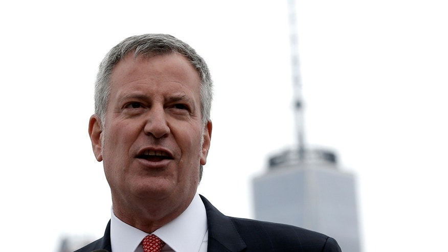 "New York City Mayor Bill de Blasio speaks during a dedication ceremony for ""Lunchbox"", the first of eventually 20 new ferry boats of the 'NYC Ferry' service in Brooklyn, New York, U.S., April 17, 2017"
