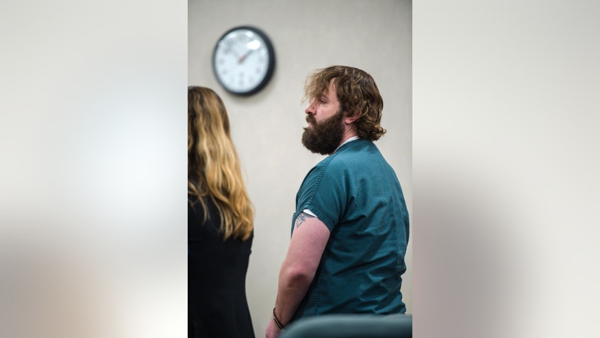 Steven Bourgoin appears in Vermont Superior Court in Burlington for a hearing about whether his child and the mother of his child may visit him in prison, Monday, May 8, 2017. Bourgoin is accused of driving the wrong way and causing a crash in October of 2016 that left five teenagers dead. (Glenn Russell/The Burlington Free Press via AP, Pool)