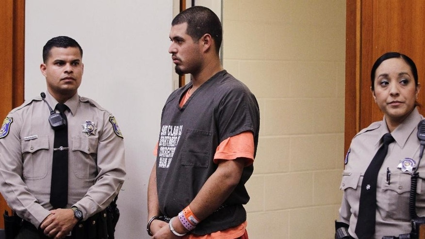 File - In this May 31, 2012, file photo, Antolin Garcia-Torres appears in a Santa Clara County courtroom in San Jose, Calif. He is accused of the kidnapping and murder of Sierra Lamar in Morgan Hill, Calif. She was last seen in March 2012. (AP Photo/Paul Sakuma, File)