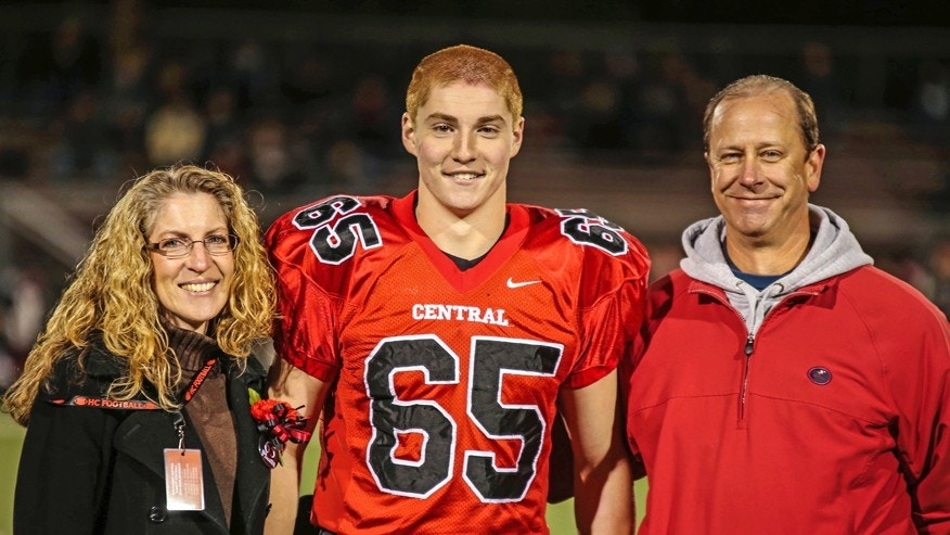 Penn State student Timothy Piazza, pictured here with his parents, died on Feb. 4, 2017, after suffering fatal injuries from a fall at a fraternity party.