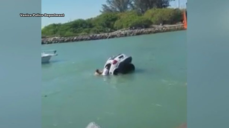 In a clip from video, bystanders try to rescue a father and daughter from a sinking van in the Venice Inlet in Florida.