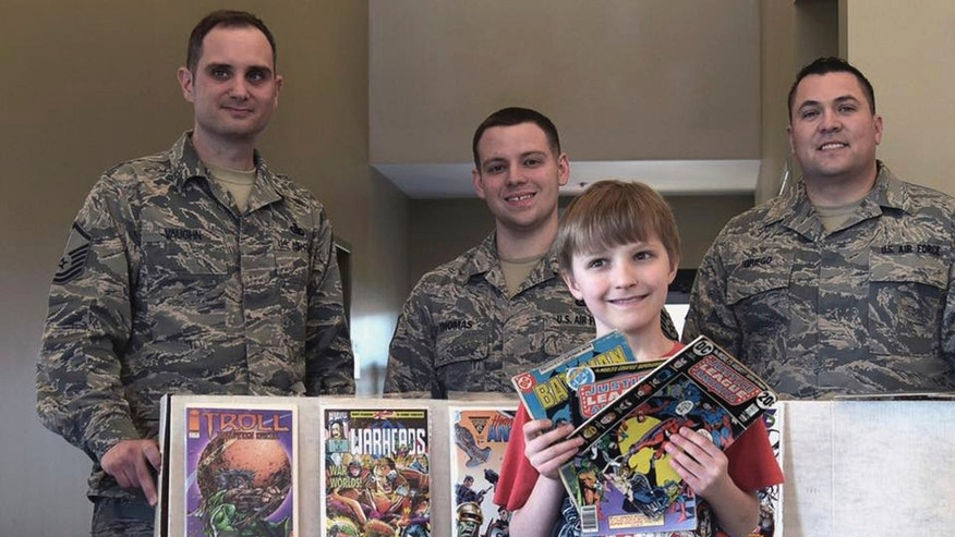 10-year-old Carl Scheckel of Montclair, New Jersey, collected some 3,500 comics and donated them on April 5 to Joint Base McGuire-Dix-Lakehurst.