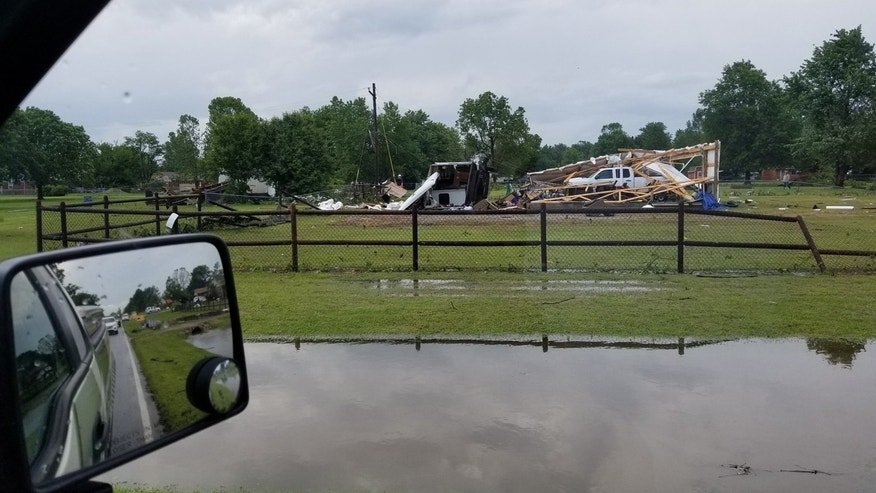 Damage after a tornado touched down in Owasso, Oklahoma.